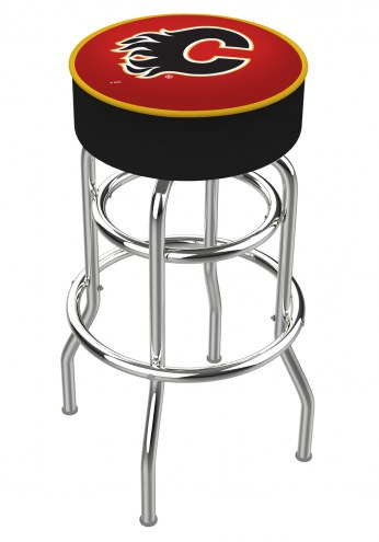 Calgary Flames Double-Ring Chrome Base Swivel Bar Stool