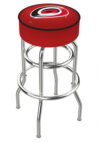 Carolina Hurricanes Double-Ring Chrome Base Swivel Bar Stool