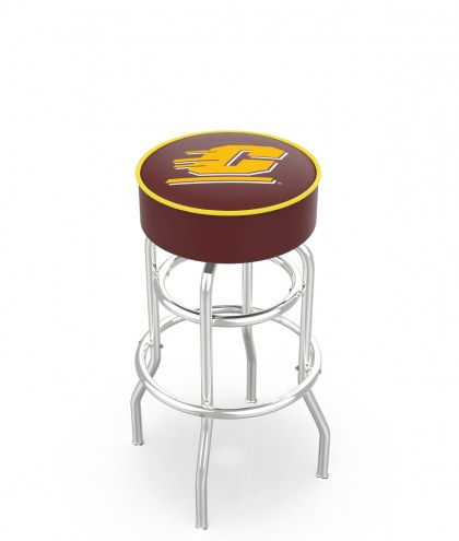 Central Michigan Chippewas Double-Ring Chrome Base Swivel Bar Stool