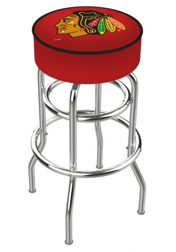 Chicago Blackhawks NHL Double-Ring Chrome Base Swivel Bar Stool