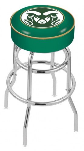 Colorado State Rams Double-Ring Chrome Base Swivel Bar Stool