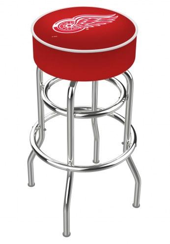 Detroit Red Wings Double-Ring Chrome Base Swivel Bar Stool