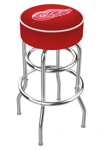 Detroit Red Wings Double-Ring Chrome Base Swivel Bar Stool