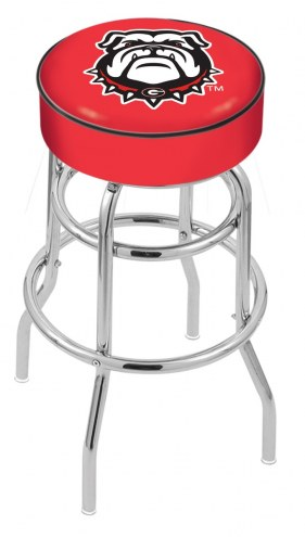 Georgia Bulldogs NCAA Double-Ring Chrome Base Swivel Bar Stool
