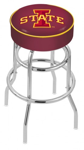 Iowa State Cyclones Double-Ring Chrome Base Swivel Bar Stool