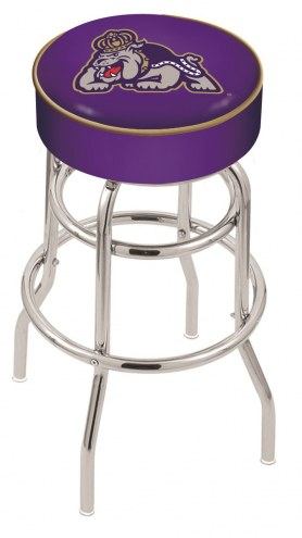 James Madison Dukes Double-Ring Chrome Base Swivel Bar Stool