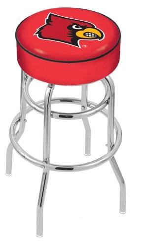 Louisville Cardinals Double-Ring Chrome Base Swivel Bar Stool