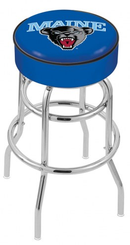 Maine Black Bears Double-Ring Chrome Base Swivel Bar Stool