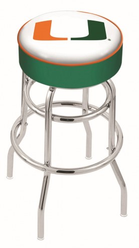 Miami Hurricanes Double-Ring Chrome Base Swivel Bar Stool