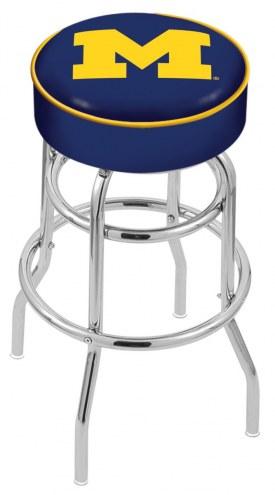 Michigan Wolverines Double-Ring Chrome Base Swivel Bar Stool