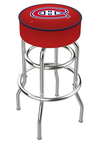 Montreal Canadiens Double-Ring Chrome Base Swivel Bar Stool