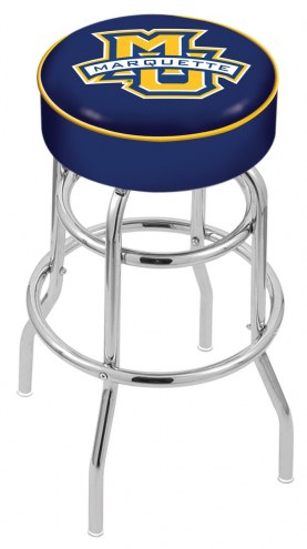 Marquette Golden Eagles Double-Ring Chrome Base Swivel Bar Stool