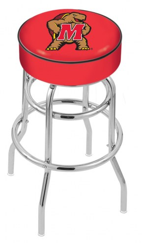 Maryland Terrapins Double-Ring Chrome Base Swivel Bar Stool