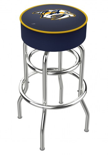 Nashville Predators Double-Ring Chrome Base Swivel Bar Stool