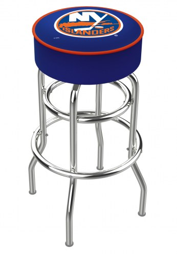 New York Islanders Double-Ring Chrome Base Swivel Bar Stool