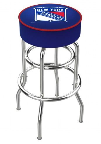 New York Rangers Double-Ring Chrome Base Swivel Bar Stool