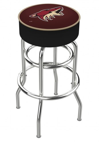Arizona Coyotes Double-Ring Chrome Base Swivel Bar Stool