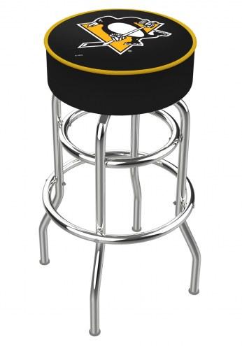 Pittsburgh Penguins Double-Ring Chrome Base Swivel Bar Stool