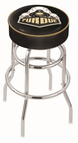 Purdue Boilermakers Double-Ring Chrome Base Swivel Bar Stool