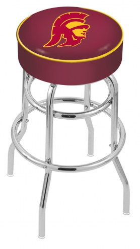 USC Trojans Double-Ring Chrome Base Swivel Bar Stool