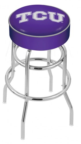 Texas Christian Horned Frogs Double-Ring Chrome Base Swivel Bar Stool