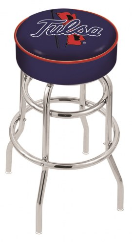 Tulsa Golden Hurricane Double-Ring Chrome Base Swivel Bar Stool