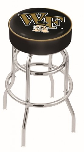 Wake Forest Demon Deacons Double-Ring Chrome Base Swivel Bar Stool