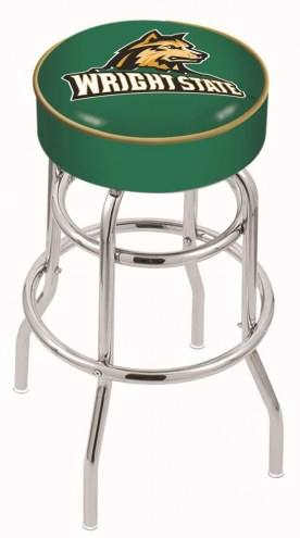 Wright State Raiders Double-Ring Chrome Base Swivel Bar Stool