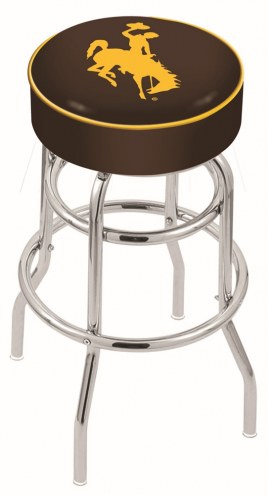 Wyoming Cowboys Double-Ring Chrome Base Swivel Bar Stool