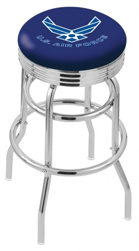 Air Force Falcons Double Ring Swivel Barstool with Ribbed Accent Ring