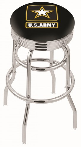 U.S. Army Black Knights Double Ring Swivel Barstool with Ribbed Accent Ring