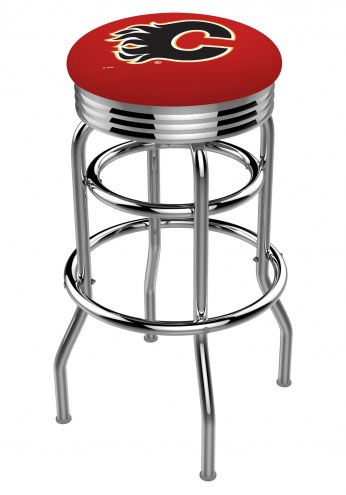 Calgary Flames Double Ring Swivel Barstool with Ribbed Accent Ring