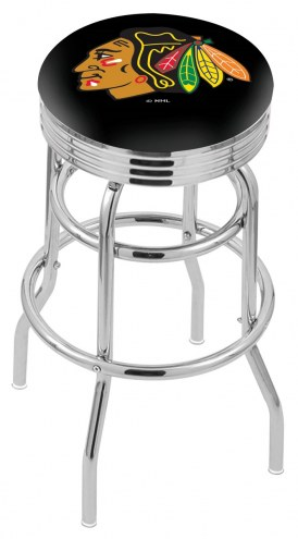 Chicago Blackhawks Double Ring Swivel Barstool with Ribbed Accent Ring