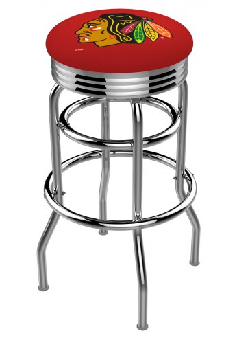 Chicago Blackhawks NHL Double Ring Swivel Barstool with Ribbed Accent Ring