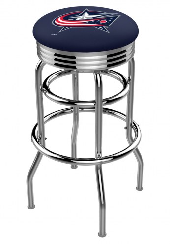 Columbus Blue Jackets Double Ring Swivel Barstool with Ribbed Accent Ring