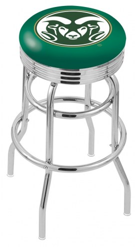 Colorado State Rams Double Ring Swivel Barstool with Ribbed Accent Ring