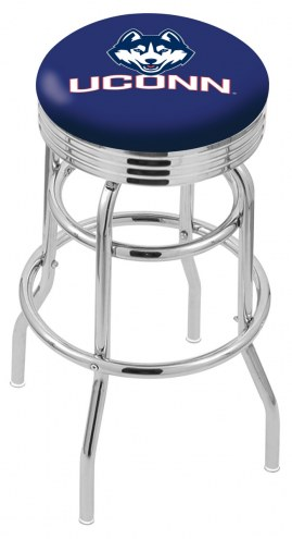 Connecticut Huskies Double Ring Swivel Barstool with Ribbed Accent Ring