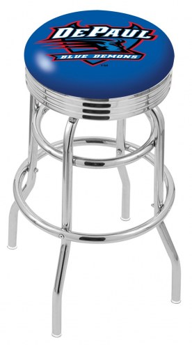 DePaul Blue Demons Double Ring Swivel Barstool with Ribbed Accent Ring