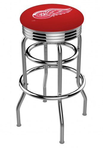 Detroit Red Wings Double Ring Swivel Barstool with Ribbed Accent Ring