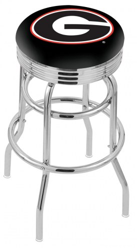 Georgia Bulldogs Double Ring Swivel Barstool with Ribbed Accent Ring