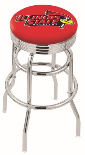 Illinois State Redbirds Double Ring Swivel Barstool with Ribbed Accent Ring