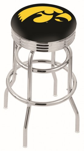 Iowa Hawkeyes Double Ring Swivel Barstool with Ribbed Accent Ring