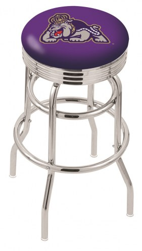 James Madison Dukes Double Ring Swivel Barstool with Ribbed Accent Ring