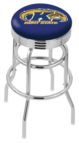 Kent State Golden Flashes Double Ring Swivel Barstool with Ribbed Accent Ring