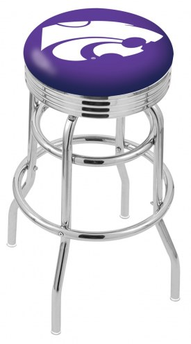 Kansas State Wildcats Double Ring Swivel Barstool with Ribbed Accent Ring