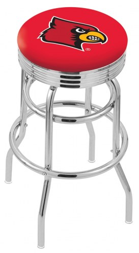 Louisville Cardinals Double Ring Swivel Barstool with Ribbed Accent Ring