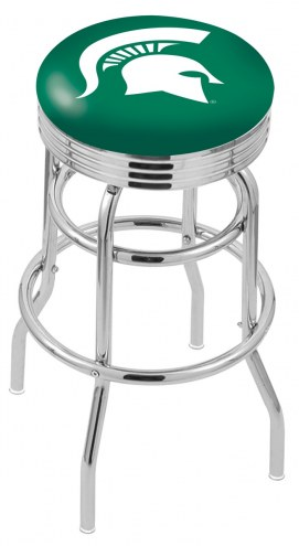 Michigan State Spartans Double Ring Swivel Barstool with Ribbed Accent Ring