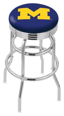 Michigan Wolverines Double Ring Swivel Barstool with Ribbed Accent Ring