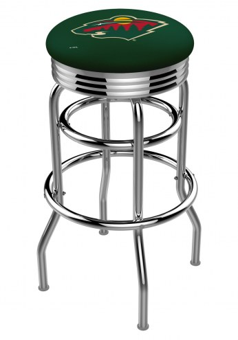 Minnesota Wild Double Ring Swivel Barstool with Ribbed Accent Ring