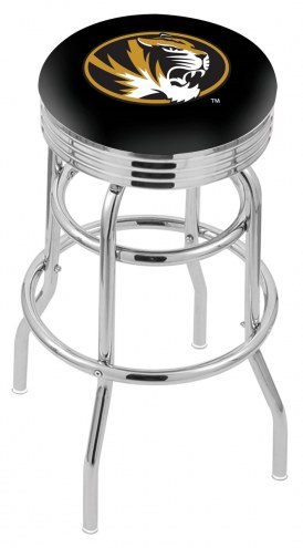 Missouri Tigers Double Ring Swivel Barstool with Ribbed Accent Ring